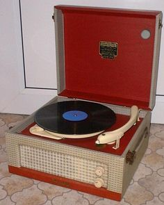 """Dansette record player - who else had one of these? When I was a little boy I would play my """"cowboy"""" songs on one of these. Songs like """"Back in the Saddle"""" and """"Happy Trails""""."""