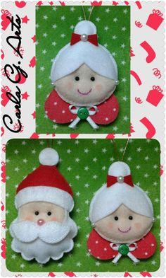 Papai e Mamãe noel Felt Christmas Decorations, Christmas Wreaths To Make, Christmas Crafts For Gifts, Christmas Ornament Crafts, Christmas Makes, Christmas Projects, Handmade Christmas, Christmas Diy, Felt Doll Patterns