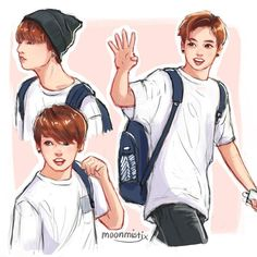 "moonmistix: ""Jungkook in white t-shirts is what keeps me awake at night "" Jungkook Fanart, Kpop Fanart, Bts Jungkook, Bts Chibi, Relife Anime, K Pop, Kpop Drawings, Bts And Exo, Bts Fans"