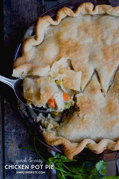 Quick & Easy Chicken Pot Pie...perfect for those busy nights! A family favorite!!!  | simplykierste.com
