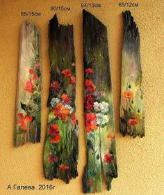 Pallet Painting, Pallet Art, Painting On Wood, Painted Driftwood, Driftwood Crafts, Easy Flower Painting, Flower Art, Wooden Art, Wood Wall Art