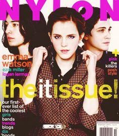 Emma Watson (with Ezra Miller and Logan Lerman). Nylon Magazine. October 2012.