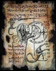VILE INCANTATIONS cthulhu Necronomicon page occult horror witchcraft