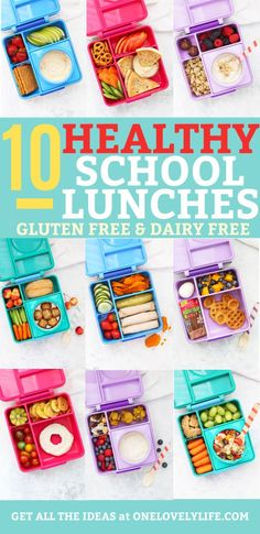 Get 2 Weeks of Healthy School Lunch Ideas in this post, plus a free printable cheat sheet for creating your own combinations! Dairy Free Recipes For Kids, Dairy Free Snacks, Lactose Free Kids Meals, Gluten Free Lunch Ideas, Kids Lunch For School, Healthy School Lunches, Bento Box Lunch For Kids, Paleo Kids Lunches, Kids Cold Lunch Ideas