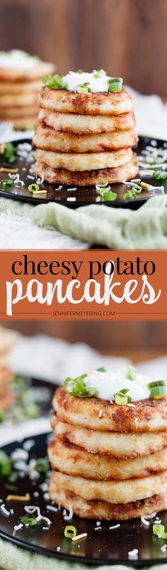 Cheesy Potato Pancakes - JenniferMeyering.com @Idaho_Spuds #downrightdelicious #CG AD