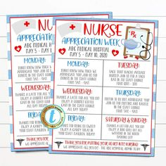 Nurse Appreciation Week Itinerary Schedule of Events Flyer. Use this flyer for any Hospital Nursing Staff Appreciation Week to alert everyone of the events scheduled. A great flyer template for hospitals, medical companies, and more - all text is editable so make it read what you wish! _________________________________