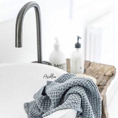 COCOON bathroom design inspiration | with Piet Boon Gunmetal Black basin mixer bycocoon.com | high-end stainless steel bathroom taps | modern wash basins |  renovations | interior design | villa design | hotel design | Dutch Designer Brand COCOON | by Paula Arcklin