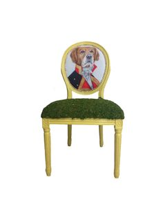 French Louis Citron Painted Eclectic Whimsical Dining Chair Humanized Victorian Dog Animal upholstered by Heather Rudd Throne Upholstery