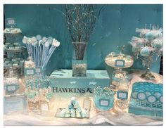 Parties- Elegant Candy Buffet/dessert table in blues and creams, party ideas.