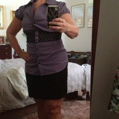 Cute Purple Top & Black Skirt Never Worn, Blouse 68%Cotton, 28% Nylon 4% Spandex.  Skirt 71% Polyester, 24# Rayon ,5% Spandex, and has a rolled waist. Maurices Tops