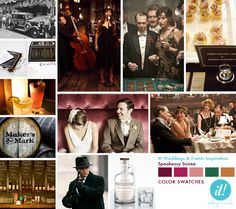 """Here are some visual queues for my speakeasy reception idea.  """"Just remember, a Prohibition Era theme means booze by the barrel, not booze free.""""  The smoky, hazy, loud and crowded atmosphere, all with the idea that you're doing something wrong would be a really fun way to foster camaraderie between your guests before the dinner and dance start."""