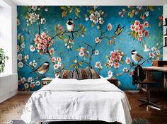 iç duvar duvar kağıdı erik çiçeği şeftali elma çiçeği ağacı kuş çiçek boyama ve ücretsiz kargo