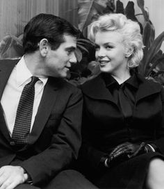 "Marilyn and Milton Greene at a press conference for ""Bus Stop"" at the LA Airport Lounge, February 25th 1956."