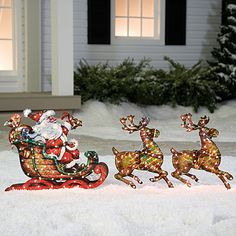 Lighted Holographic Deer with Sleigh, 3-Piece Set at Big Lots.