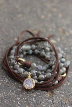 Labradorite Wrap Bracelet with Leather