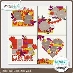 Paper Hearts Templates Vol. 5 :: Templates :: Packs :: Gotta Pixel Digital Scrapbook Store