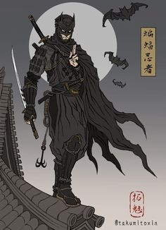 Batman Ninja: Fanart Batman Drawings, The Joker and Harley Quinn Ukiyo-e Style by Takumi Joker Et Harley Quinn, Le Joker Batman, Batman Ninja, Fan Art Batman, Batman Artwork, Arte Dc Comics, Dc Comics Art, Comic Books Art, Comic Art