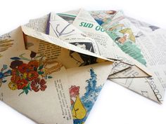 5 Envelopes made from Vintage 1950 French Fashion by CelessaBazaar, €4.50