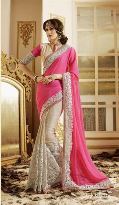 Hot Pink Embroidered Work Georgette Designer Saree