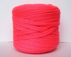 Fluo Pink Neon Pink T-Shirt Yarn, Cotton T-Shirt Tricot, Fabric Jersey Ideal for Necklaces, Bracelets, Rugs and Bags - 2,7m/3 yards(1 piece) on Etsy, $1.95