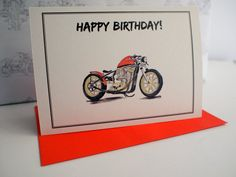 """Gold & Red Harley Davidson Bobber Hand Drawn Birthday Card 