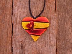 Dichroic fused glass Heart with smaller heart by PureLightStudio