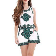 Fashion Women Summer Retro Floral Print Crop Top Suits Shorts Set Elegant Mini Boho Beach Two Piece Outfits Ladies Playsuit
