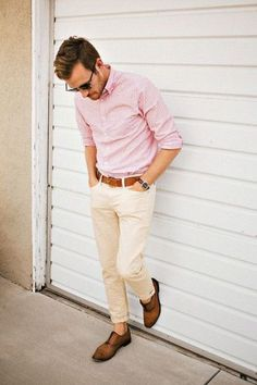 David Scene 8   Dig the cream chinos; brighter button up   stylish-and-light-men-summer-work-outfits- 3