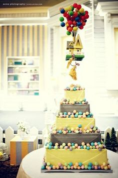 adorable UP inspired wedding cake :) Meh, change the colors; looks like a baby shower cake, but i like the topper