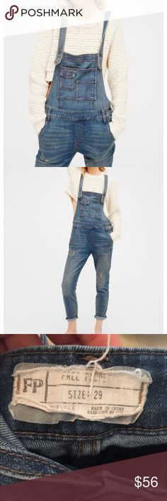 Free people Overalls Free people washed denim overalls size 29. Worn once! Free People Jeans Ankle & Cropped