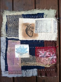 Natalie Turner-Jones, UrbanZenCoyote. Textile Collage. Burlap, linen, tea dyed cheesecloth, hand-painted fabric, acrylic paint, printed fabric. Hand stitched.