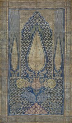 Textile. 19th C. Indian silk. Blue and white. birds
