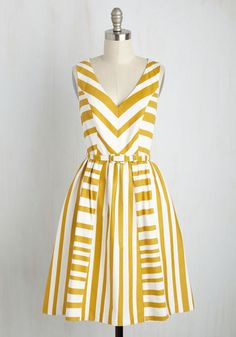 Invite admiring glances left and right by flaunting this cotton dress - part of our ModCloth namesake label! The sleeveless silhouette of this goldenrod and white frock invites sun-kissed shoulders, while its mixed stripes, belted waist, and pockets offer radiant style that's brilliant beyond compare. By the way, this lovely item will be available for purchase in May!