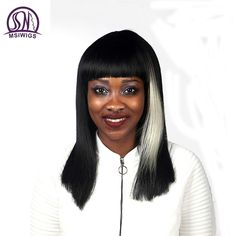 MSIWIGS Mixed Colour Long Straight Wigs High Temperature Fiber African American Synthetic Hair Ombre Wigs for Women