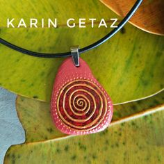 Painted stone, painted rock, rock art, dot art, wearable art,coral necklace, spiral necklace, bohemian necklace, kgetaz, handmade necklace