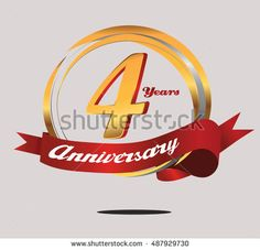 4 years anniversary golden logo with red ribbon and ring composition. anniversary logo for birthday, celebration, wedding, party
