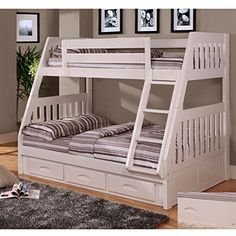 & Buy Discovery world Furniture Twin Full white Kids Bunk Beds with trundle or storage drawers 0218 & Kids white bunk bed twin and full Furniture Bedroom Sets & Wide Selection of Twin over full solid wood white bunk beds Bunk Beds With Drawers, Wooden Bunk Beds, Bunk Beds With Stairs, Kids Bunk Beds, Loft Beds, Twin Full Bunk Bed, Bunk Bed With Trundle, Full Bed, Full Full