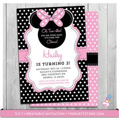 Minnie Mouse Birthday Invitations | Printable Oh Twodles Party Invitation | Black White Polka Dots Pink | Second | 2nd Oh Two-dles Invites