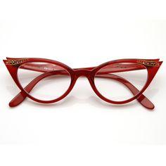 9a0ca1fdf0 Vintage 1950s Fashion Clear Lens Glasses Rhinestones 8434