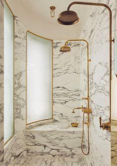 world of interiors via Habitually Chic® Gold in the bath Dream Bathrooms, Beautiful Bathrooms, Small Bathroom, Brass Bathroom, Bathroom Ideas, Bathroom Designs, Marble Bathrooms, Master Bathroom, Shower Bathroom