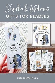 221b Baker Street is your favourite place and detective stories fill your bookshelves? Might as well just call you a Sherlock Holmes nerd (in a loving way!) I'm sure you'll love our Sherlock Holmes bookmarks and wall art. Visit our online shop for these and more literature themed goodies from printable bookmarks, to planners and printable wall art. | Sherlock Holmes gifts for literature lovers | Arthur Conan Doyle Book Lovers Gifts, Book Gifts, Gifts For Bookworms, Gifts For Kids, Student Gifts, Teacher Gifts, Printable Bookmarks, Literary Gifts, Arthur Conan