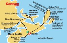 All inclusive, guided Caravan Nova Scotia tours from Halifax PEI, New Brunswick, Cabot Trail, and Cape Breton Island on tour itinerary. Cabot Trail, East Coast Travel, East Coast Road Trip, East Coast Canada, Nova Scotia Travel, All Inclusive Vacation Packages, Dream Vacations, Road Trip Map, Canadian Travel