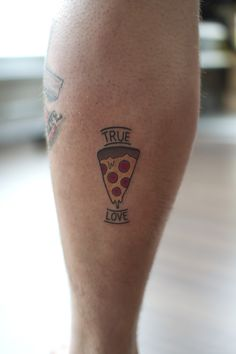True Love Pizza tattoo for Valentine's Day. Tattoo by Vanessa Dong at The Studio Tattoo in Pitt Meadows. www.TheStudioTattoo.com info@thestudiotattoo.com
