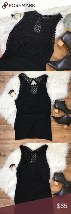 "• FREE PEOPLE black crochet dress • Gorgeous crochet dress with a key hole back. So pretty and simple! The waist is fitted while the top half of the dress drapes over slightly. Length 35"" bust 17"" has lining so it is not sheer! Free People Dresses"