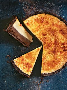 This magnificent chocolate-vanilla brulee cheesecake is your new show stopper at your next get together!