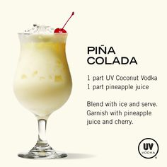 UV Vodka Recipe: Piña Colada This is so easy! Bartender Drinks, Liquor Drinks, Vodka Drinks, Frozen Drinks, Cocktail Drinks, Alcoholic Drinks, Beverages, Martinis, Uv Vodka Recipes