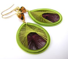 Chartreuse Brown and Gold Threaded Earrings by allisonbrubaker, $15.00