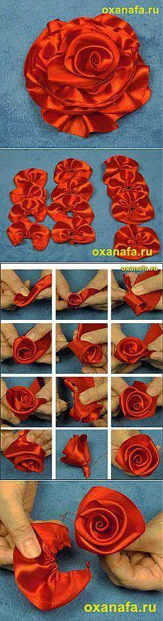 Как сделать розу из ленты.