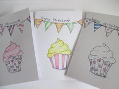 The Icing on the Cake - hand drawn birthday card, which can be personalised. Each one unique. by TheLittleWelshStudio on Etsy