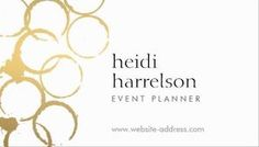 Abstract gold rings imply stains left over from bottles and glasses at a party on this unique party planner, event planner business card template.